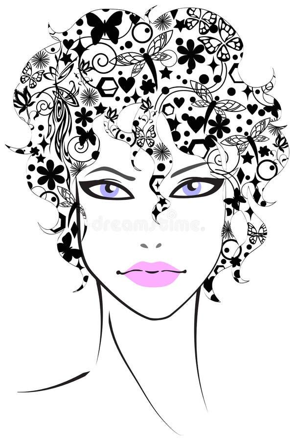 美丽的女花童头发 库存例证
