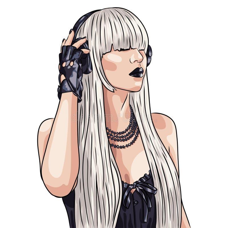 美丽的妇女佩带的白色假发和hea的例证 库存例证