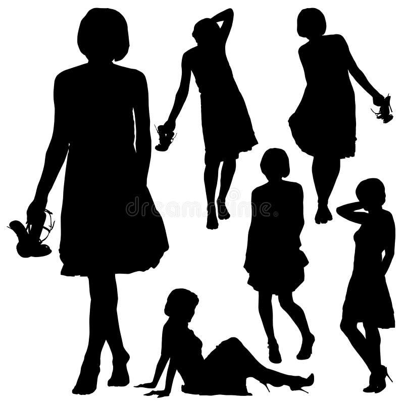 美丽的妇女剪影以各种各样的姿势 向量例证