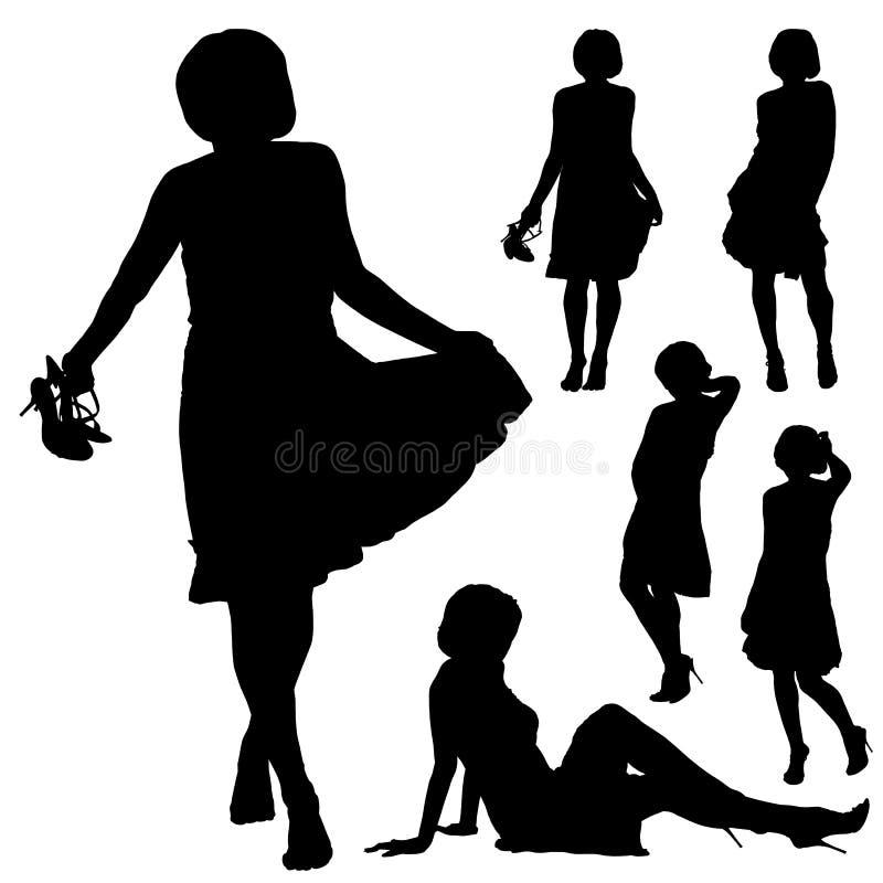 美丽的妇女剪影以各种各样的姿势 库存例证