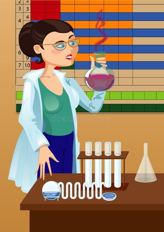 妇女化学家 库存例证