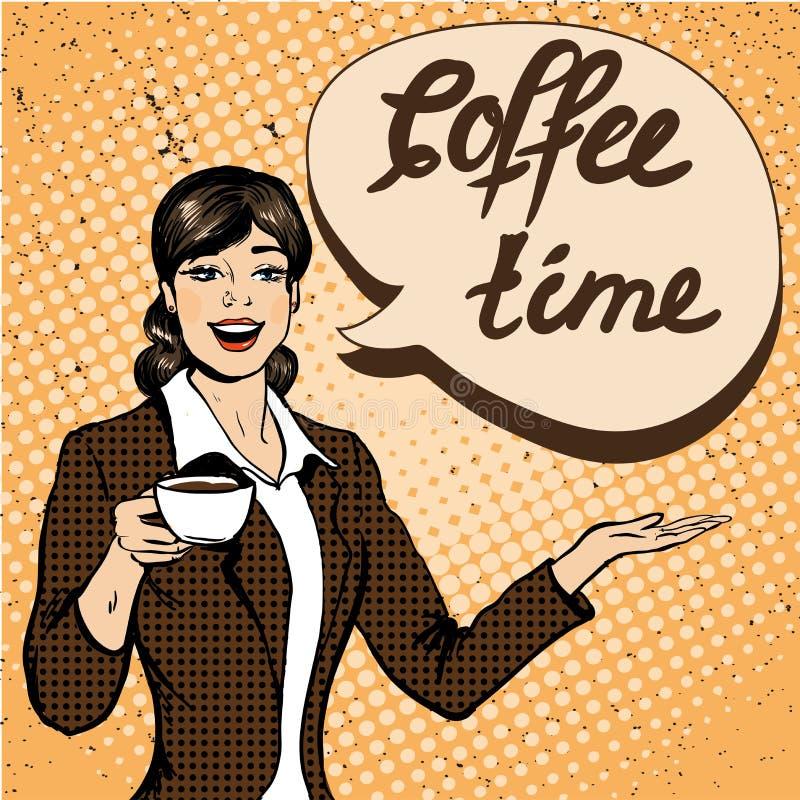 美丽的妇女喝咖啡在减速火箭的可笑的流行艺术样式的传染媒介例证 库存例证