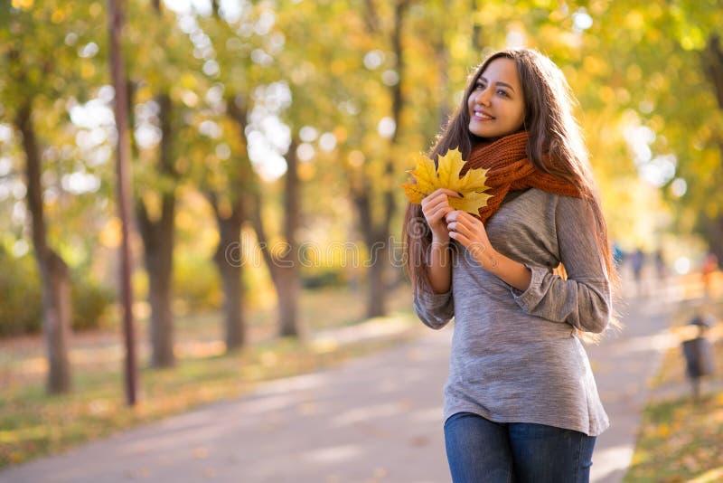 美丽的妇女在秋天公园 免版税库存照片