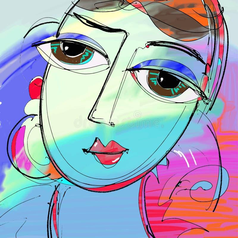 美丽的妇女数字式绘画,女孩抽象画象与 皇族释放例证