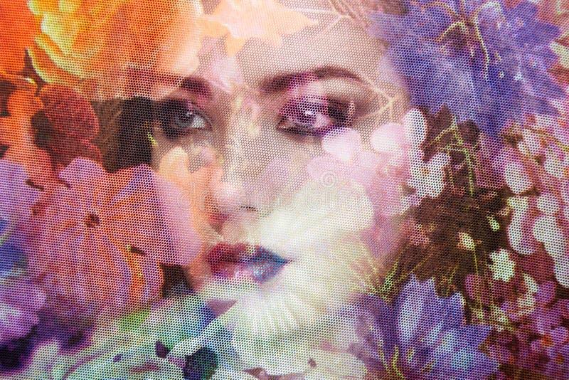 美丽的妇女时尚照片在面纱下的 免版税库存图片