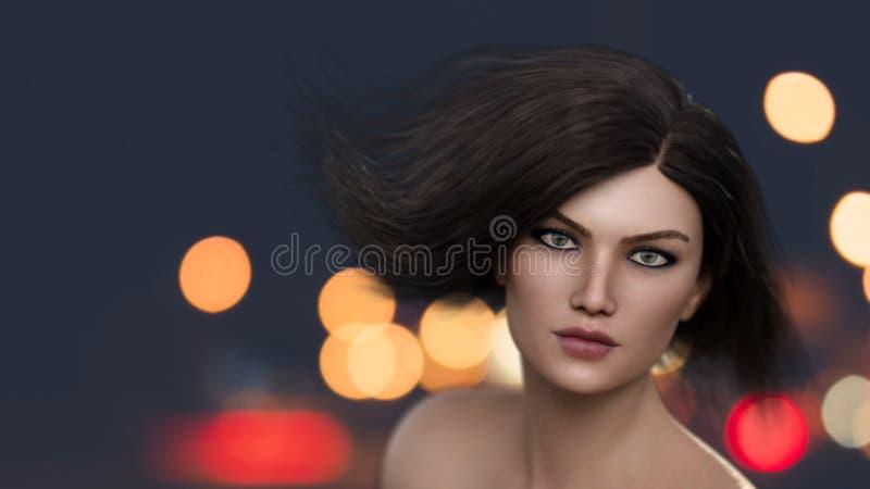 美丽的妇女浅景深的剧烈的画象 库存例证