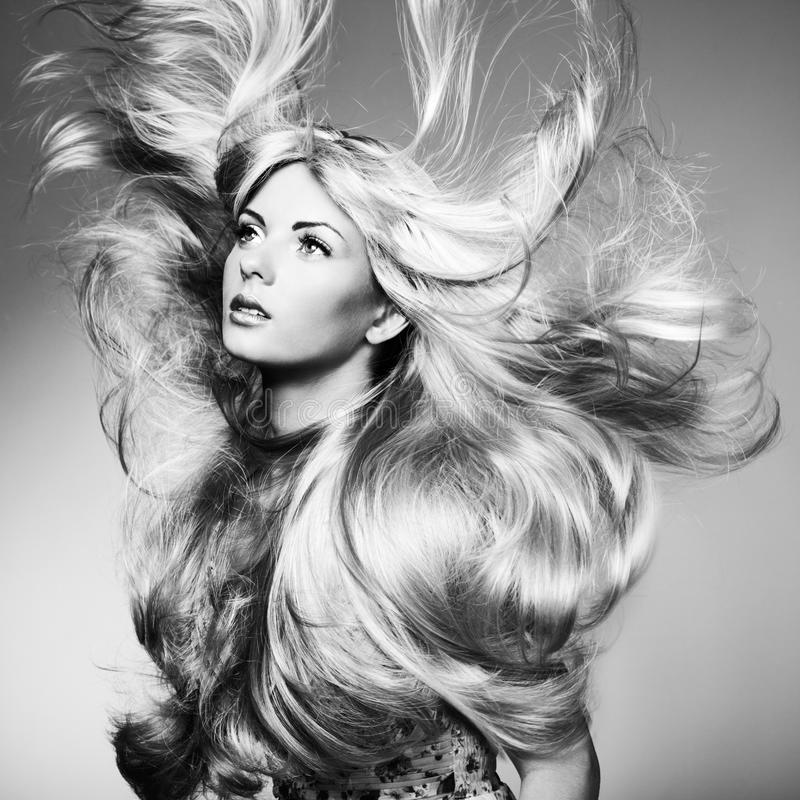 美丽的妇女照片有壮观的头发的 库存图片