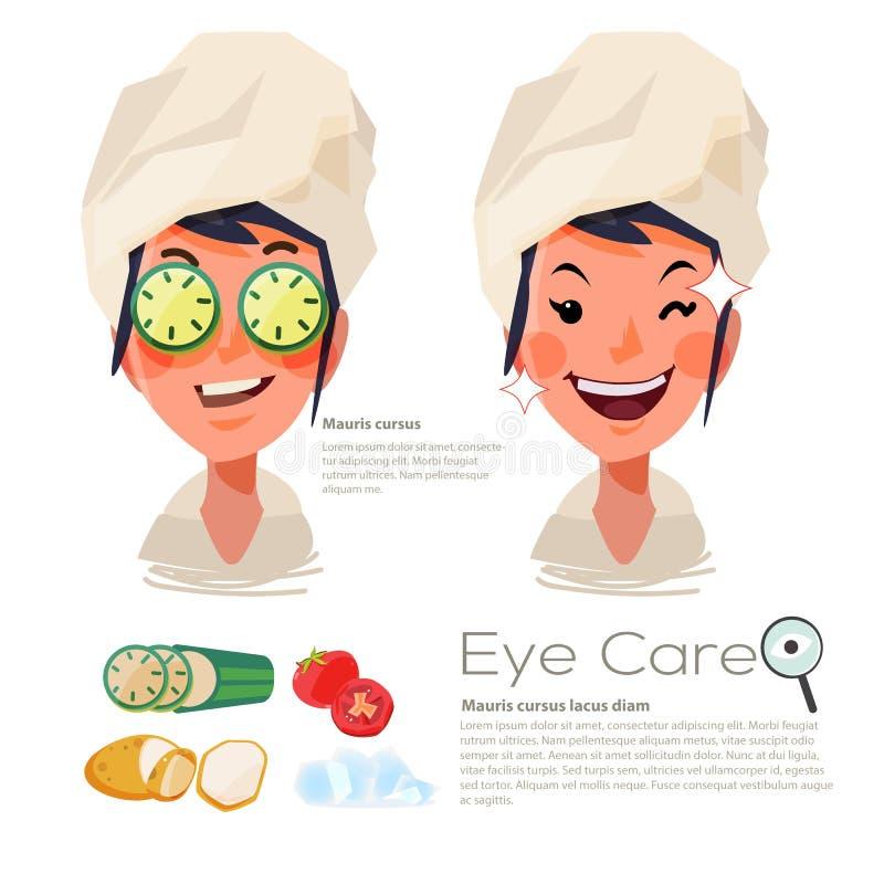 美丽的妇女用在她的眼睛的切的黄瓜 浓缩眼睛的关心 皇族释放例证