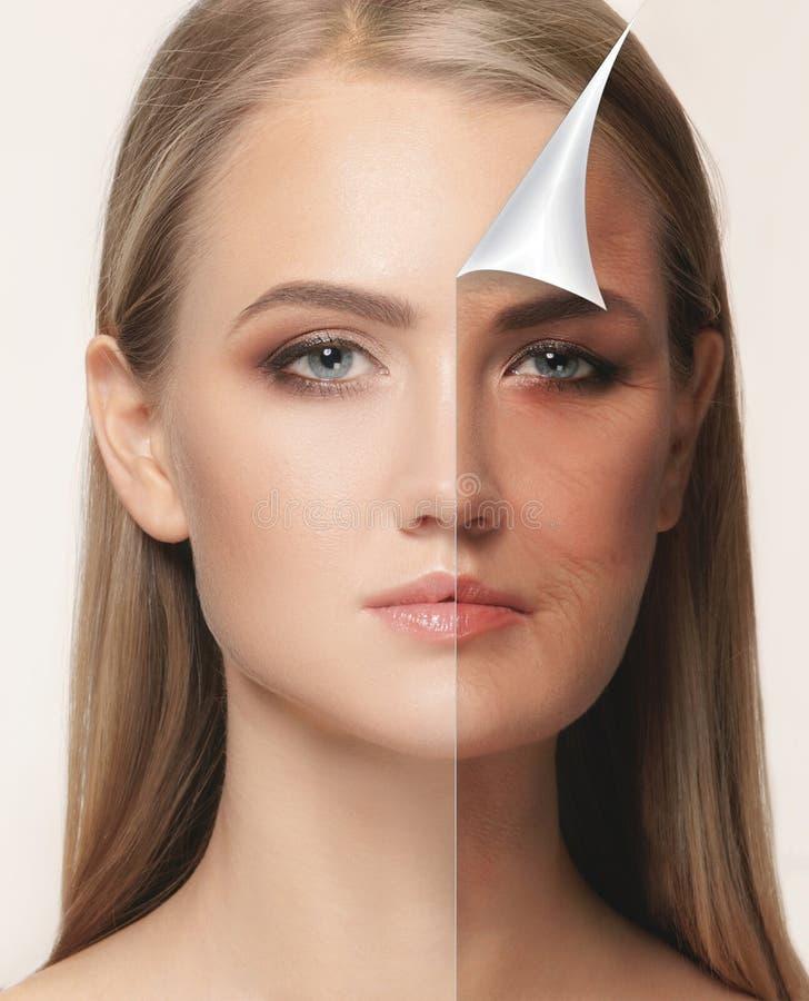 美丽的妇女画象有问题和干净的皮肤、老化和青年概念的,秀丽治疗 库存照片