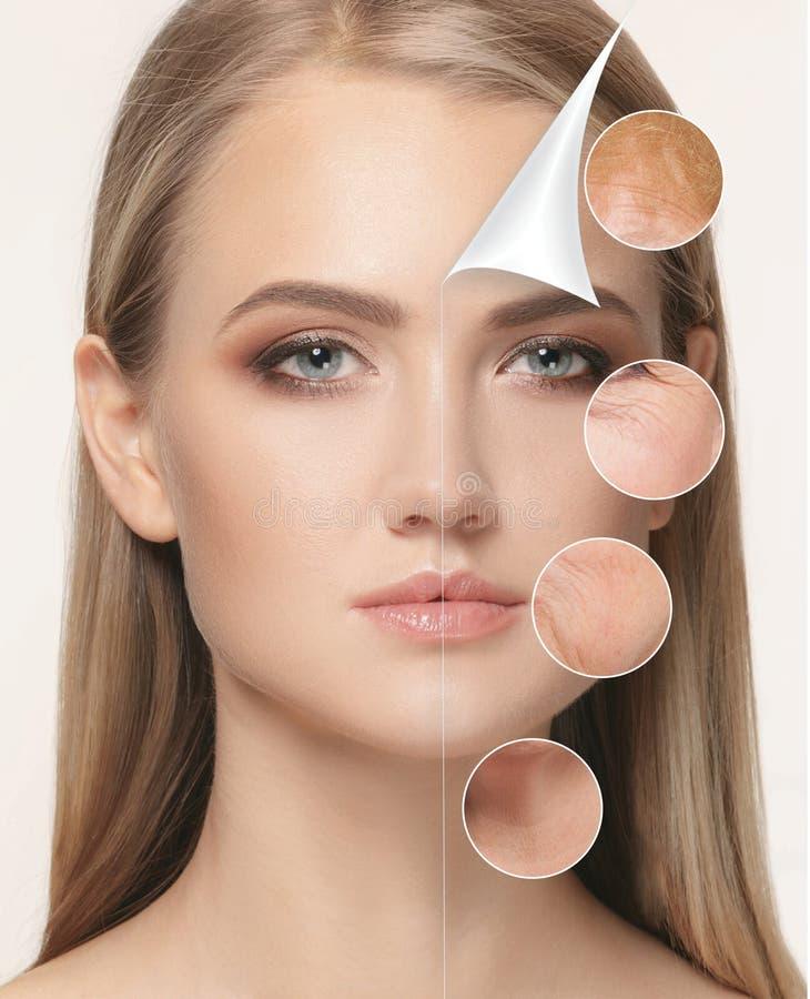 美丽的妇女画象有问题和干净的皮肤、老化和青年概念的,秀丽治疗 图库摄影