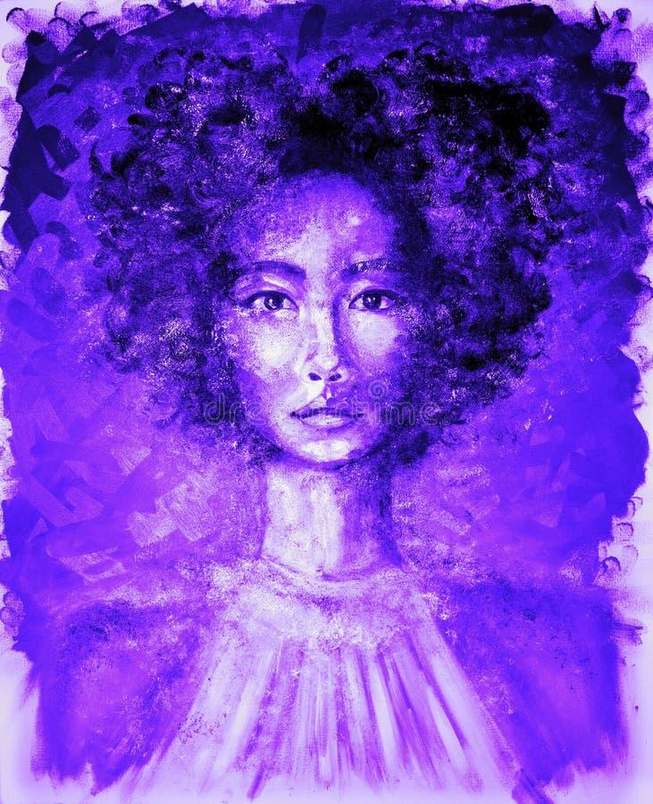 美丽的妇女画象霓虹紫外油画的 库存例证