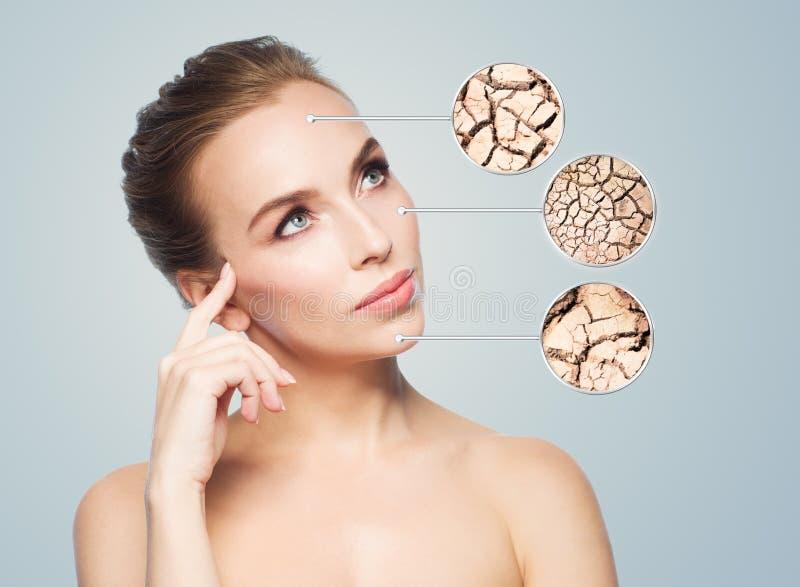 美丽的妇女的面孔有损坏的皮肤样品的 免版税库存照片
