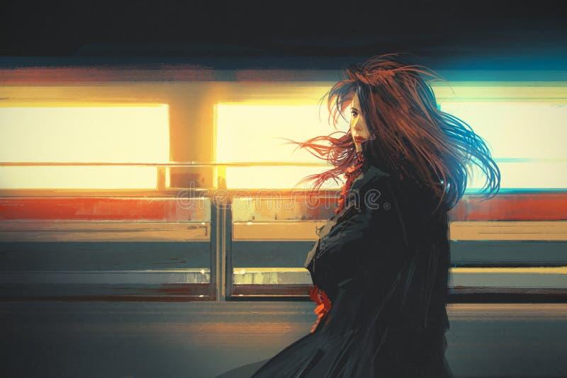 美丽的妇女站立反对五颜六色的光的,数字式绘画 向量例证