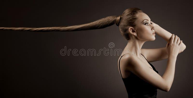 美丽的妇女纵向。 长的布朗头发 库存图片