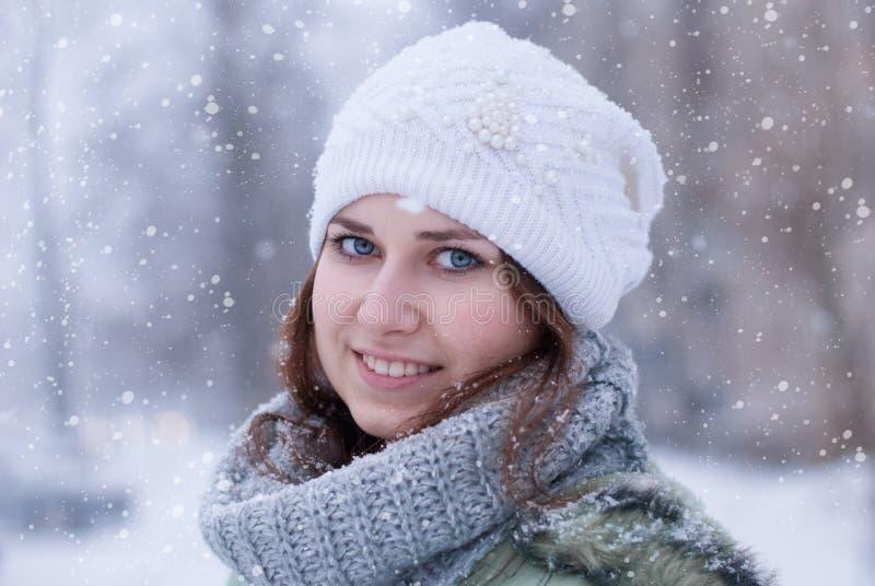 美丽的妇女纵向在冬天。 库存照片