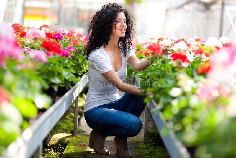 美丽的妇女自温室 免版税库存照片