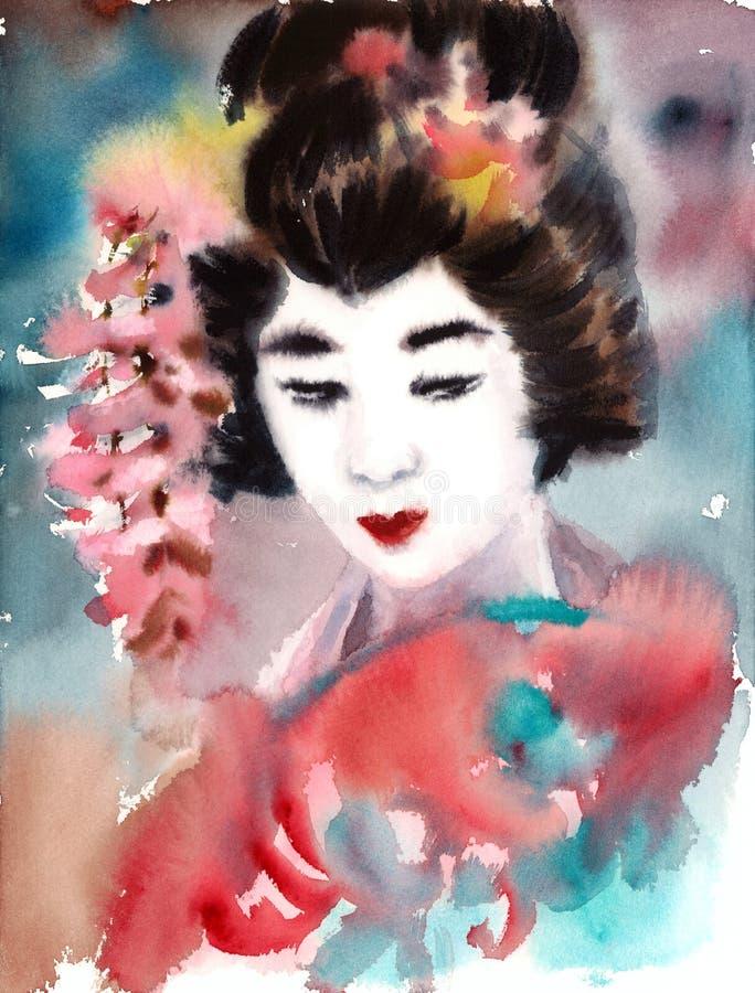 美丽的妇女艺妓水彩手画日本例证 库存例证