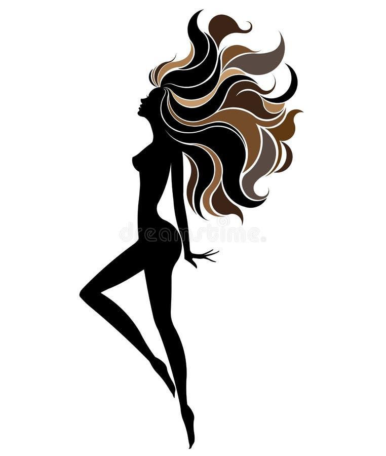 美丽的妇女象化妆用品和温泉,白色背景的商标妇女形状, 库存例证