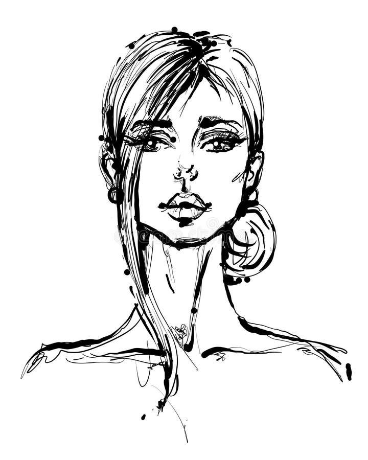美丽的妇女面孔手拉的传染媒介例证 与美丽年轻有吸引力的时髦的原始的图表画象 向量例证