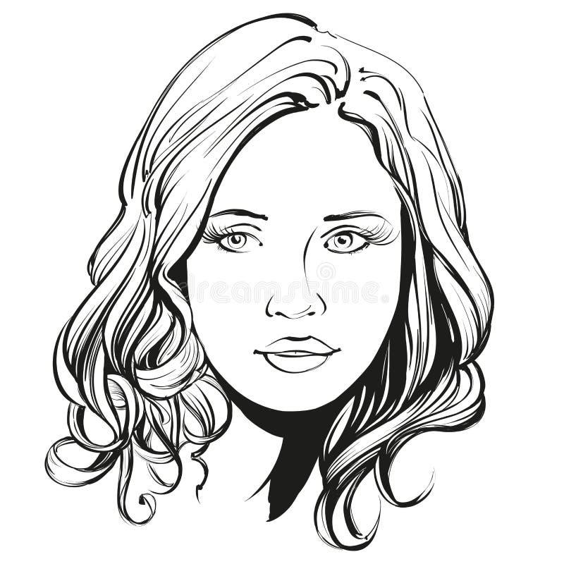 美丽的妇女面孔手拉的传染媒介例证 库存例证