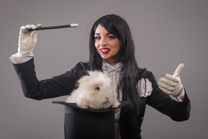 美丽的妇女魔术师用在帽子的兔子 库存照片