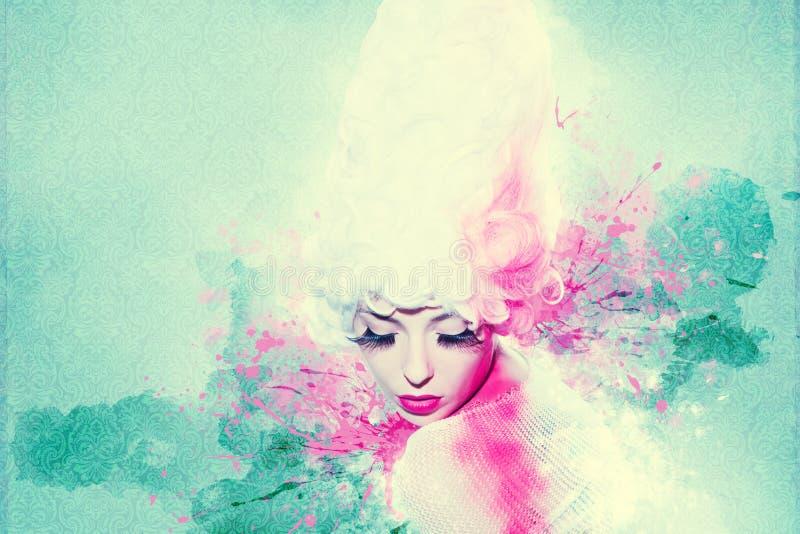 美丽的妇女,与墨水的艺术品在难看的东西样式 免版税图库摄影