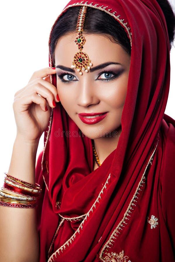 美丽的妇女画象印地安样式的 图库摄影