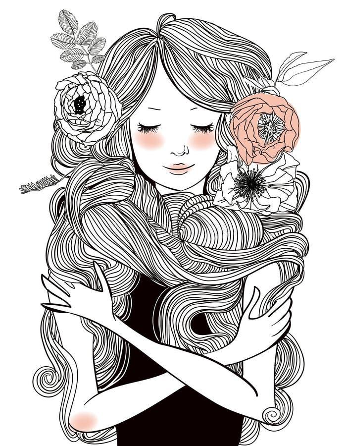美丽的妇女画象有长的头发的 库存例证