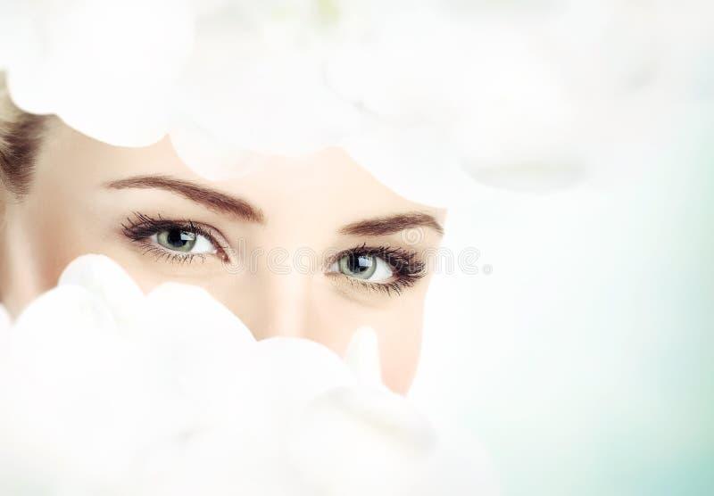 美丽的妇女` s眼睛 图库摄影