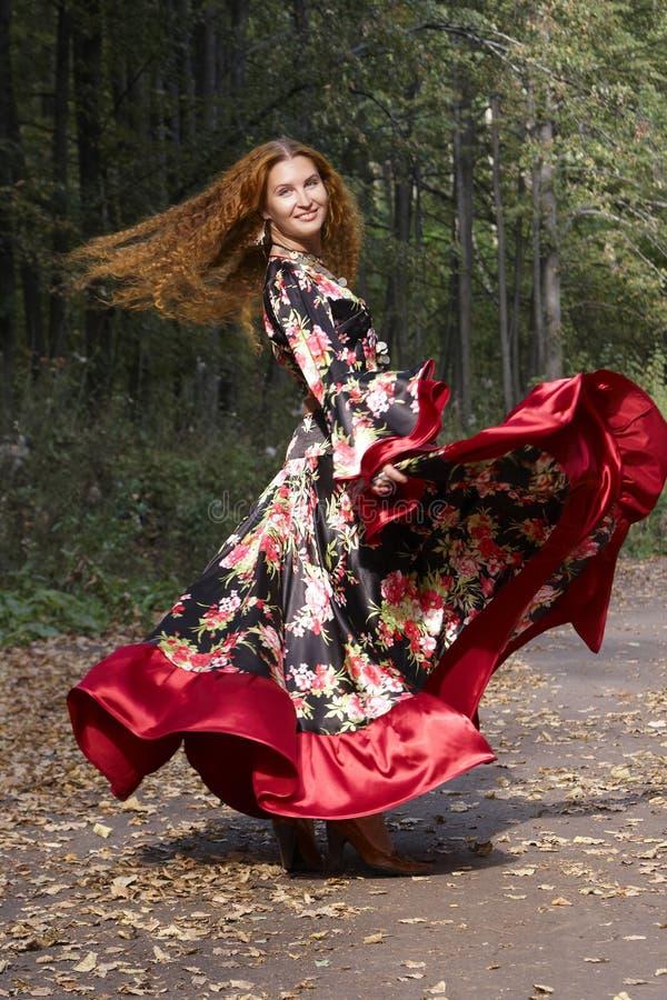 美丽的姜吉普赛女孩头发的诉讼 免版税库存图片