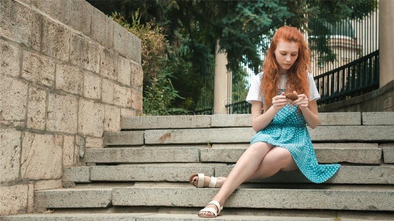 美丽的姜女孩在公园接触球果 库存照片