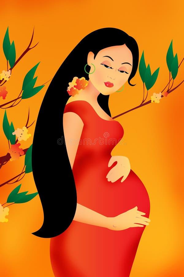 美丽的孕妇准备是母亲 皇族释放例证