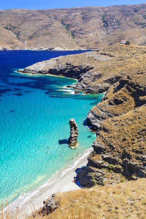 美丽的安德罗斯海岛,对Pidima,希腊的Tis GRIAS 库存照片