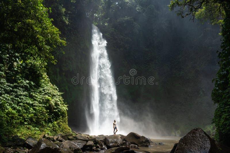 美丽的密林瀑布的冒险寻找者 免版税库存图片