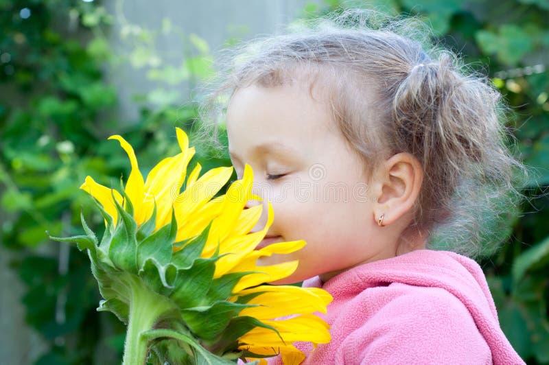 美丽的小女孩和向日葵 库存图片