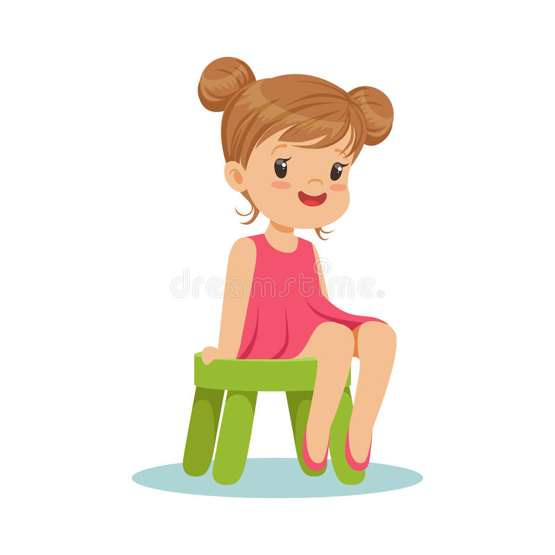 美丽的小女孩坐一把小绿色凳子,五颜六色的字符 向量例证
