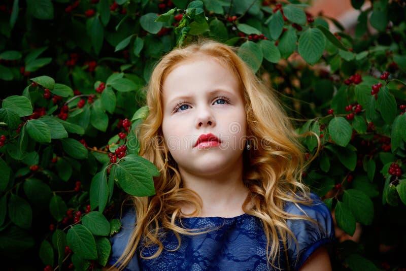 美丽的小女孩画象一件蓝色礼服的 免版税库存图片