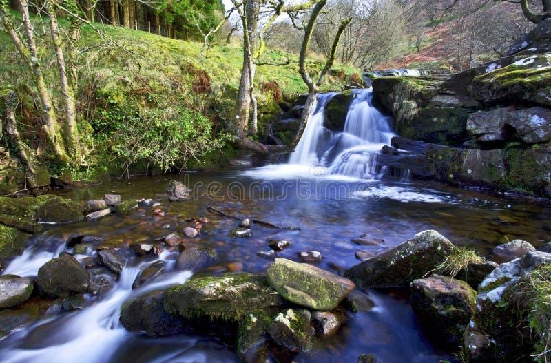 美丽的小瀑布, Afon Caerfanell河, Blaen-y-Glyn 免版税库存照片