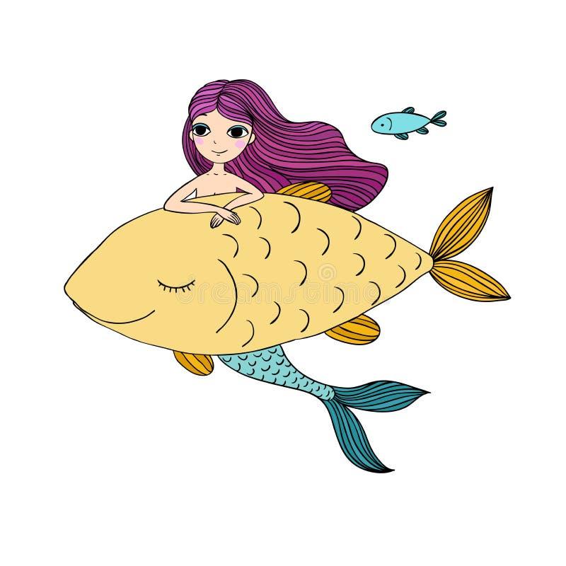 美丽的小的美人鱼和大鱼 警报器 抽象抽象背景海运主题 库存例证
