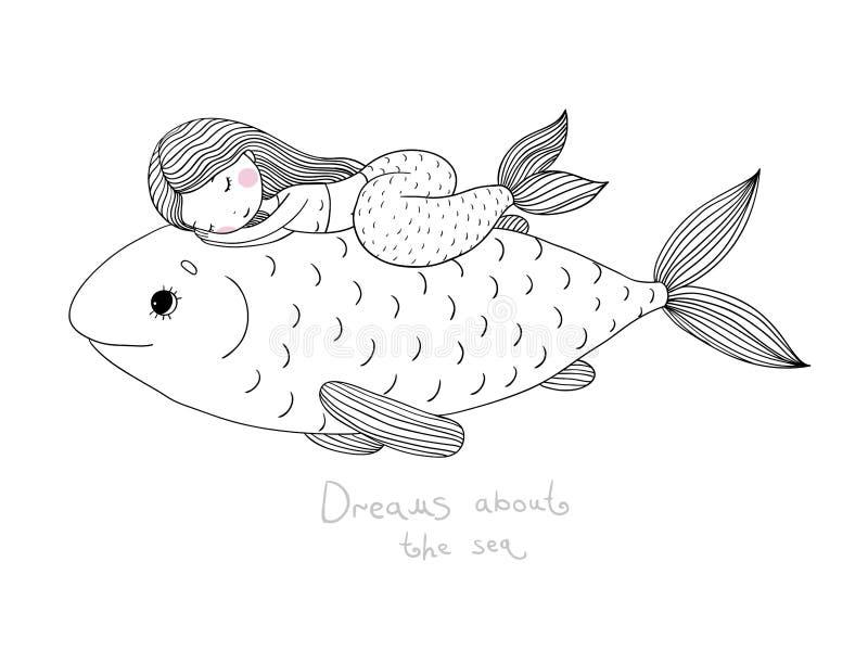 美丽的小的美人鱼和大鱼 向量例证