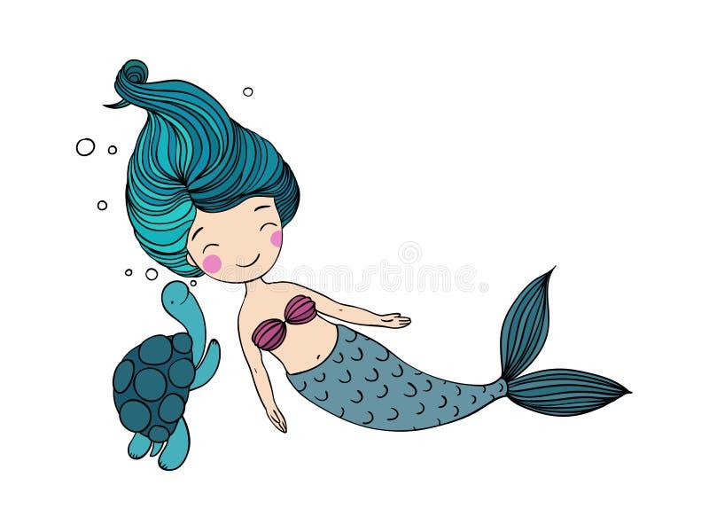 美丽的小的美人鱼和草龟 库存例证