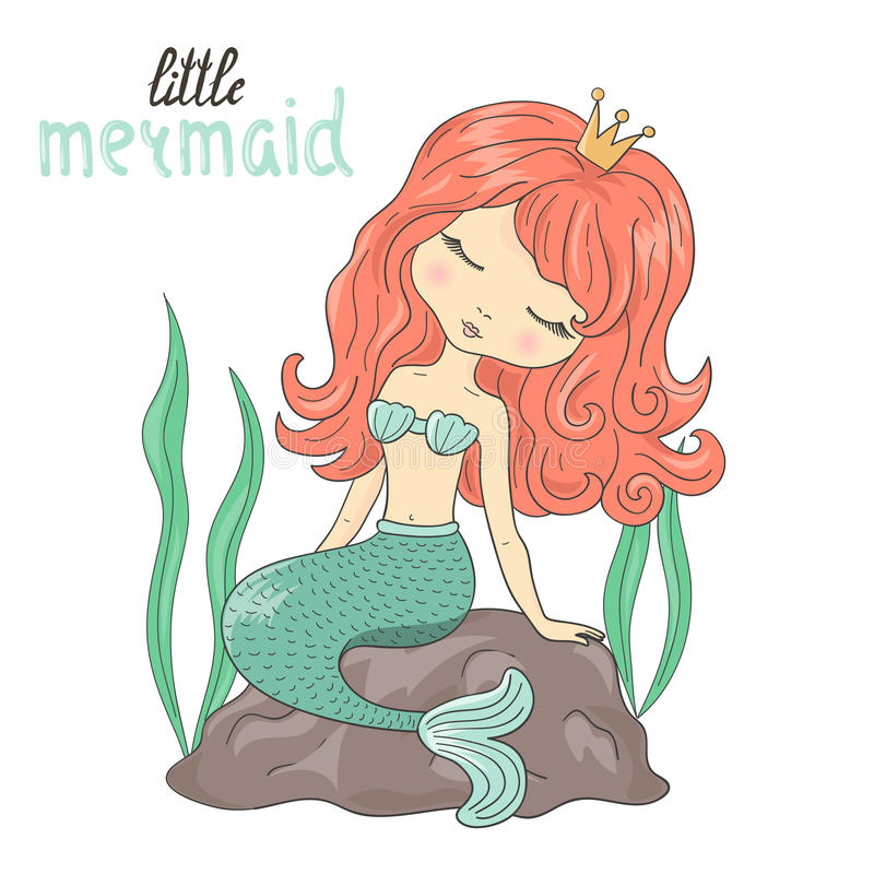 美丽的小的美人鱼坐岩石 库存例证