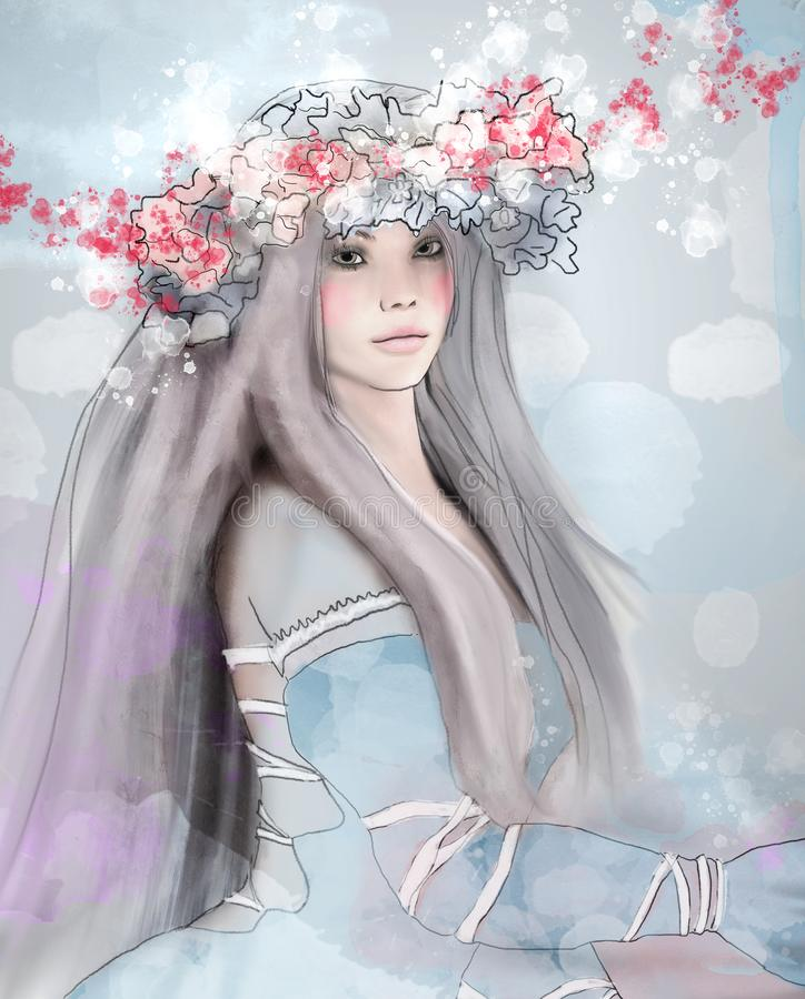 美丽的少女作为春天的标志 向量例证