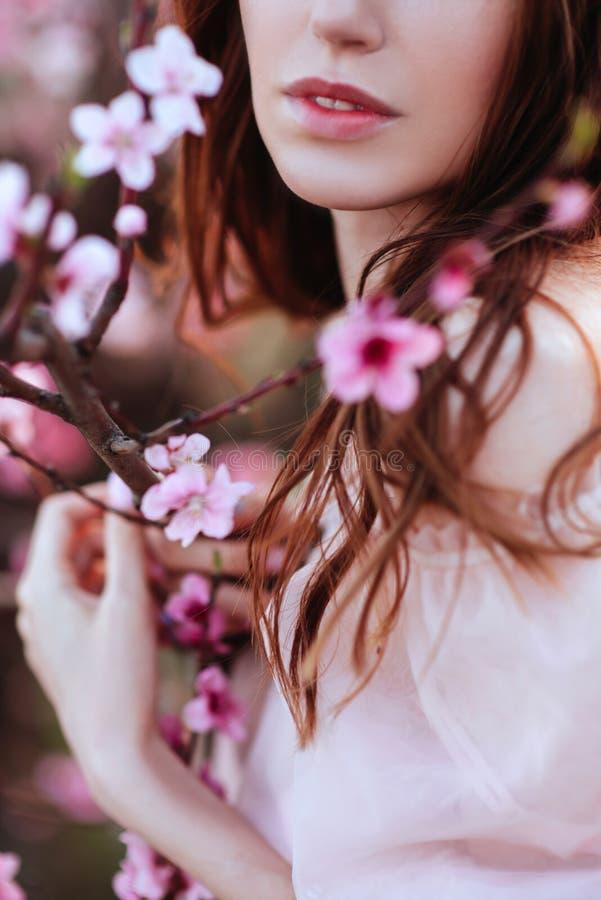 美丽的少女在开花的桃红色树下 免版税库存照片