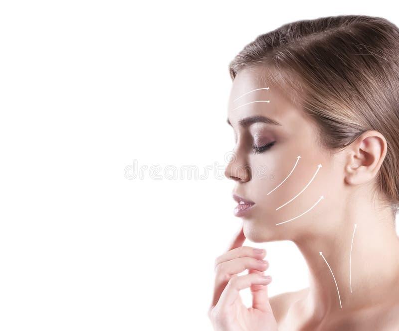 美丽的少女皱痕箭头 免版税库存照片
