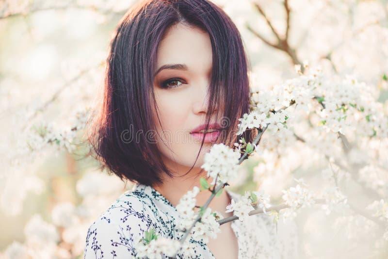 美丽的少妇在开花的佐仓 免版税图库摄影