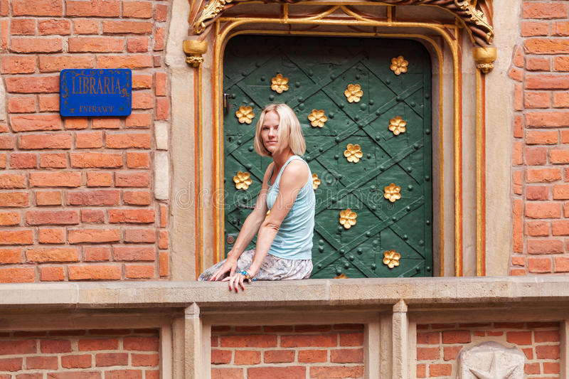 美丽的少妇坐栏杆反对砖墙背景 库存图片