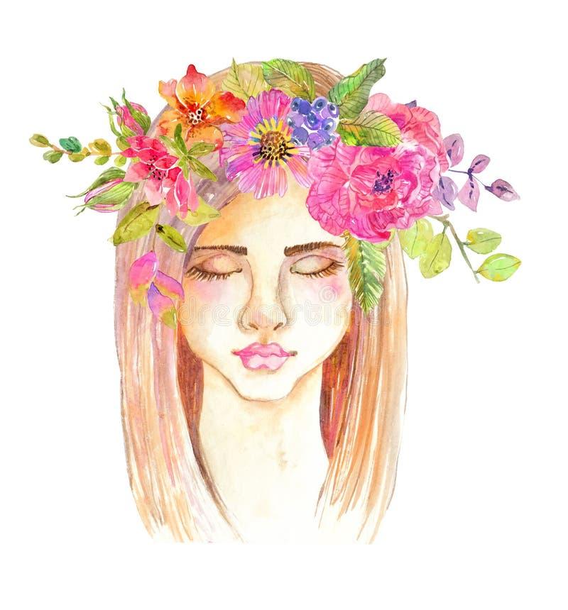 美丽的少妇画象有美丽的面孔的 库存例证