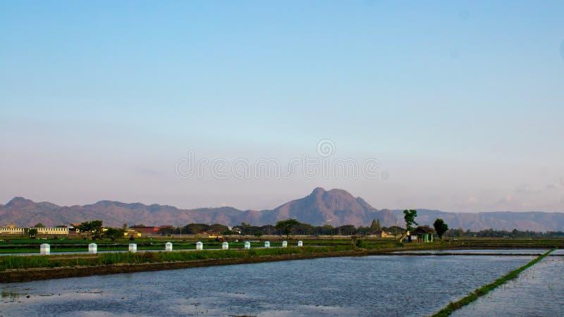 美丽的山在村庄 库存图片