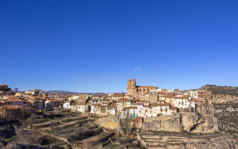 美丽的山村Villarluengo,西班牙 免版税库存图片